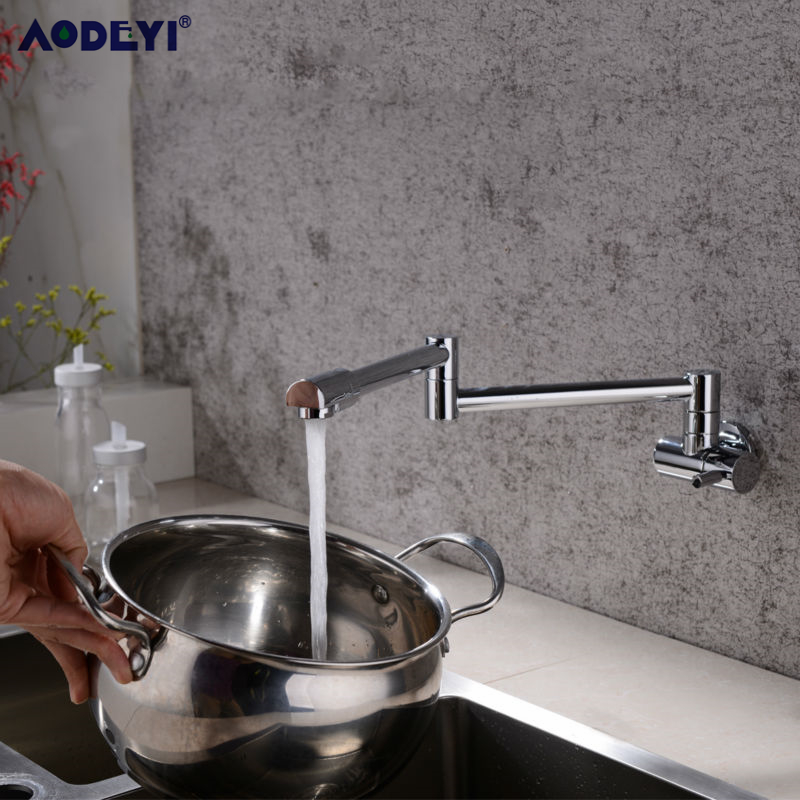Image 3 - Brass Wall Mounted Kitchen Faucet Pot Filler Faucet Swivel Folding Retractable Rotary Stretch  Basin Faucet Sink Tap-in Kitchen Faucets from Home Improvement