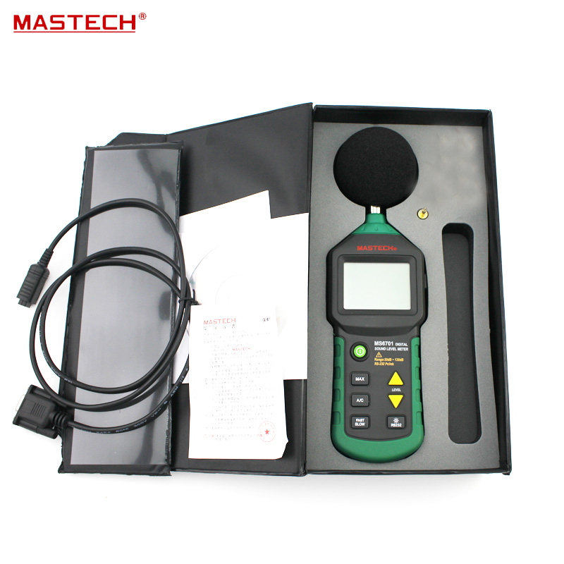 Autoranging Digital Sound Level Meter Decibel Tester With RS232 Interface and Software , 30dB to 130dB MASTECH MS6701 tm 102 autoranging sound level meter