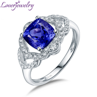 Real 14K White Gold Natural Tanzanite Ring Luxury Diamond For Daughter Fine Jewelry Birthday Gift Lovelry