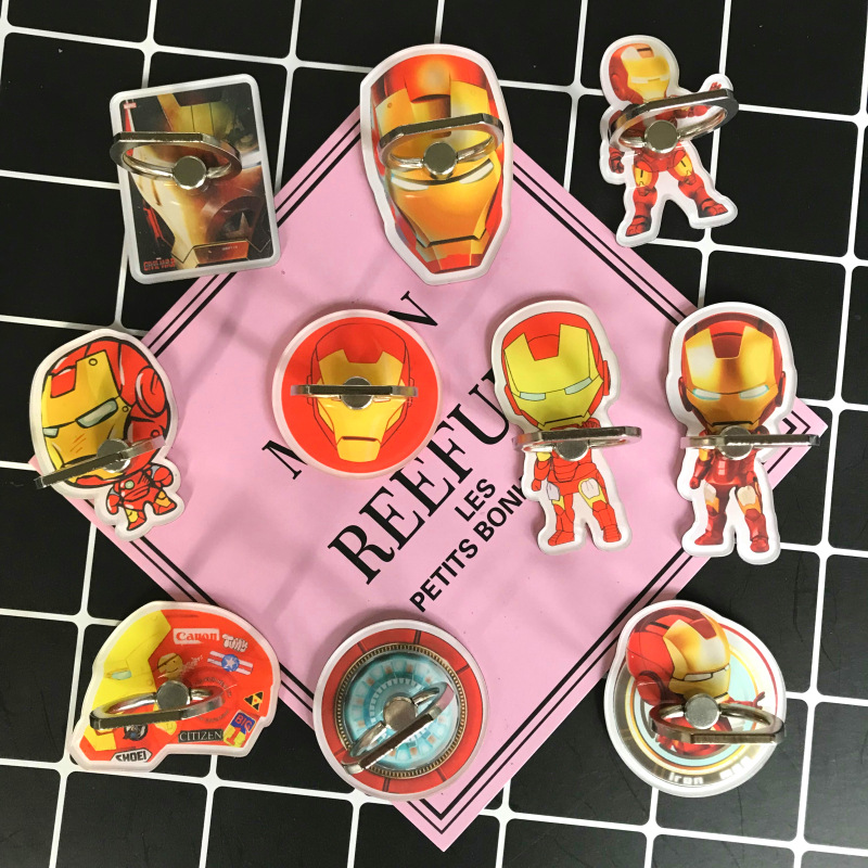 Marvel Avengers Action Figures Super Toys Iron-man Mobile phone Ring finger bracket Cartoon Toys