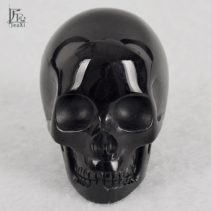 2inch Skull Figurine Handmade Natural Human Shape Carved Skull Statue Craft Black Obsidian Realistic FengShui Healing Home Decor