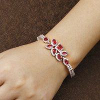 2017 Charm Bracelet Red Stone AAA Cubic Zircon European Fashion Bracelets For Women Pulseras Mujer AB052