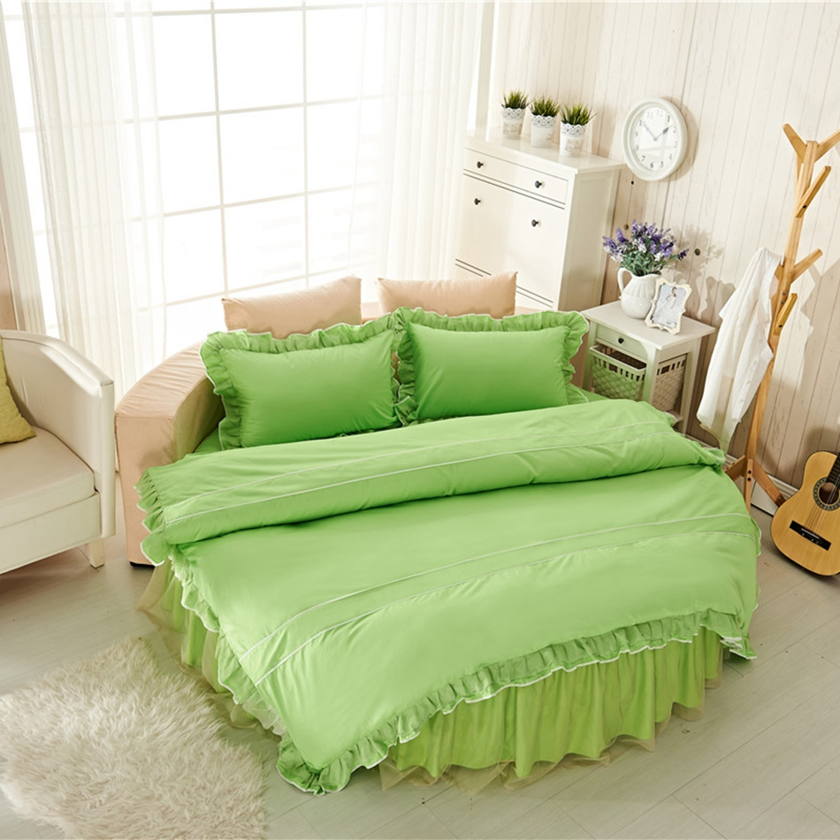 100% Cotton Green Duvet Cover Set Round Bed Diameter 2m/2.2m Size, Part 74