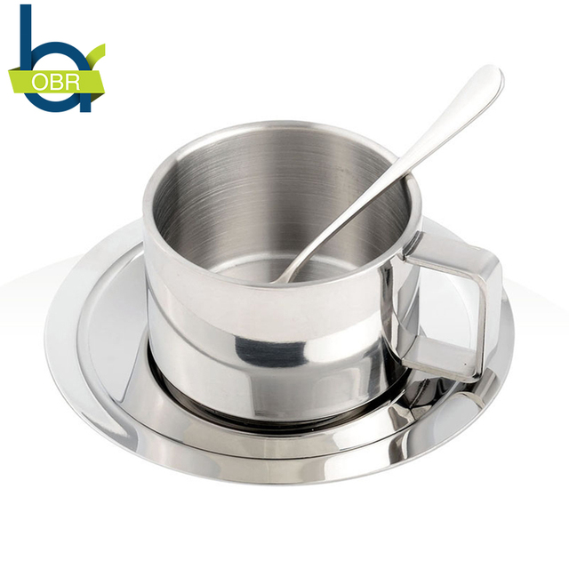 Obr Double Layer Stainless Steel Coffee Cup Set Handgrip Mug With Plate Milk Spoon