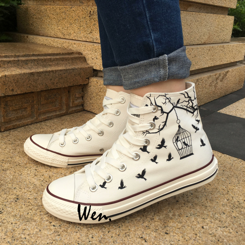 Wen Design Custom Hand Painted White Canvas font b Shoes b font Bird Cage font b