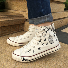 Wen Design Custom Hand Painted White Canvas Shoes Bird Cage Men Women High Top Sneakers Flats Lace Up Gifts Birthday Presents