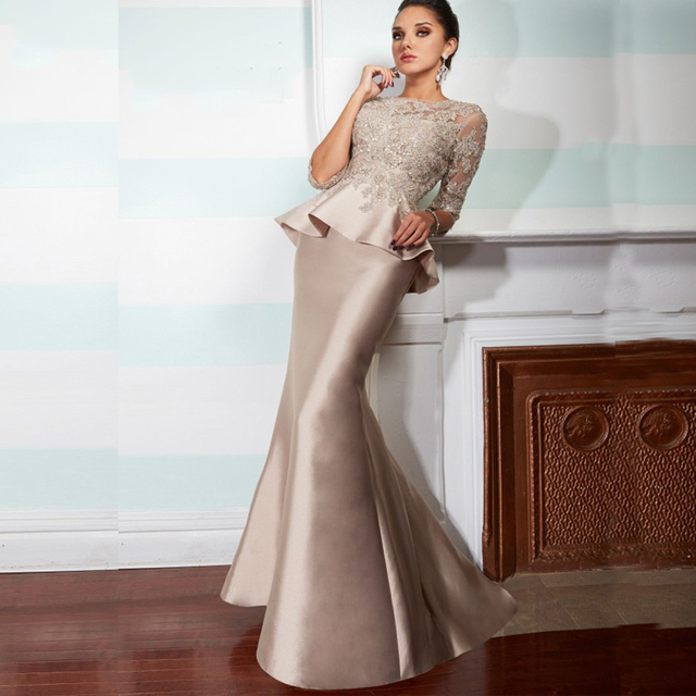 002d0c65679 Champagne Vintage Lace Mermaid Long Mother of The Bride Dresses With Half  Sleeves 2015 Peplum Formal Evening Gowns Plus size