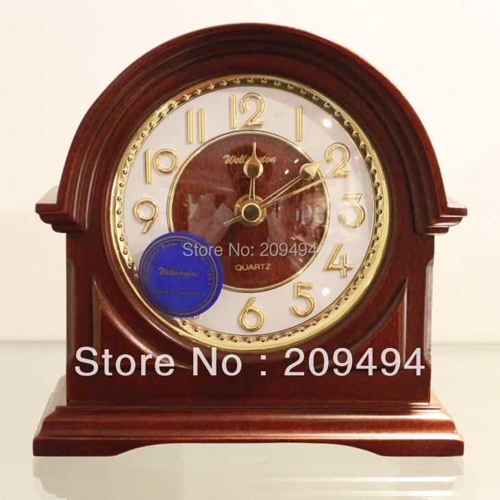 Новые прибытия Европа Стиль деревянные старинные часы Desktop салон номер часы кварцевые Супер Mute Движение маленькие часы