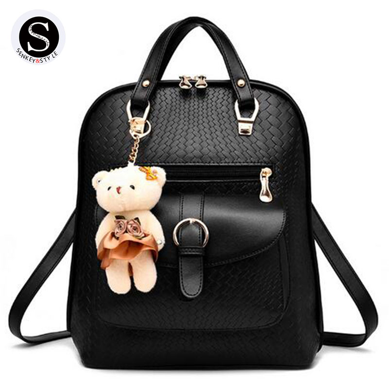 Senkey Style Women Backpack 2017 Famous Brand School Bags For Teenagers Girls Leather Travel Backpack Travel Printing Women Bag miwind famous brand preppy style leather school backpack bag for college simple design travel leather backpack bags tlj1082