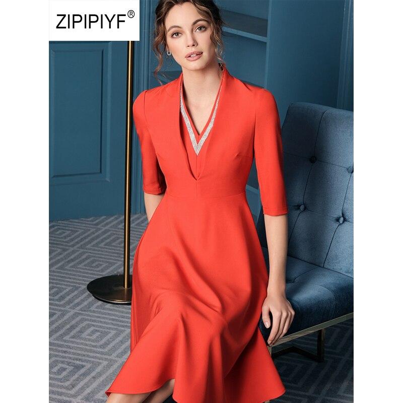ORIGINAL 2019 Runway Elegant Dresses Office Lady V Neck Half Sleeve Vestidos A line dress Party