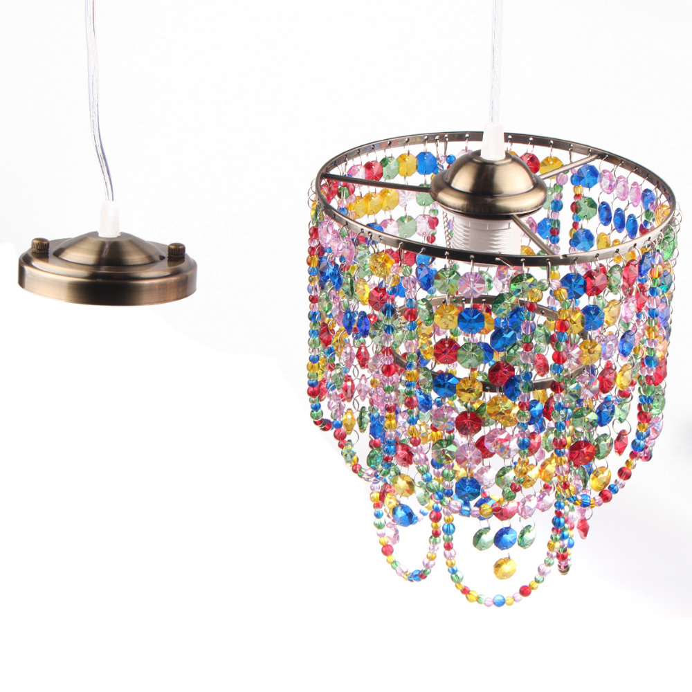 Traditional Arts Colorful Crystal Pendant Light E27 Fixture ...