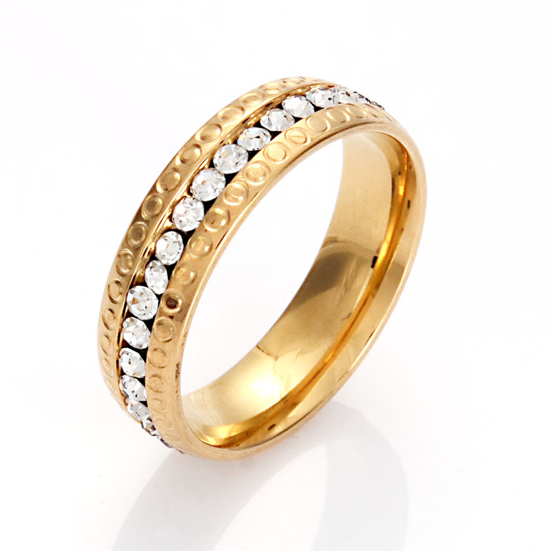 Fashion Women Stainless Steel Crystal Rings Wholesale Plated Wedding Rings For Women Party Jewelry
