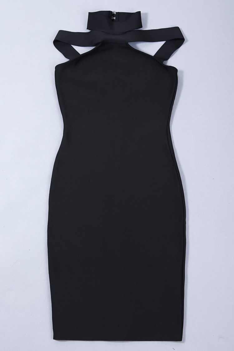 Летняя повседневная одежда облегающее Бандажное платье с лямкой на шее с открытыми плечами без рукавов до середины голени вечерние платья Для женщин платья
