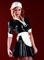 Латекс резиновая платье горничной Фэнтези латекс наряд с фартук и шарф