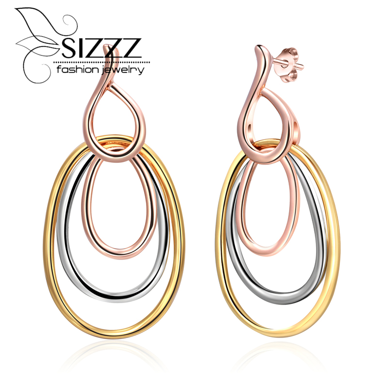 SIZZZ Spot direct supply three-color multi-round drop earrings simple fashion earrings for women