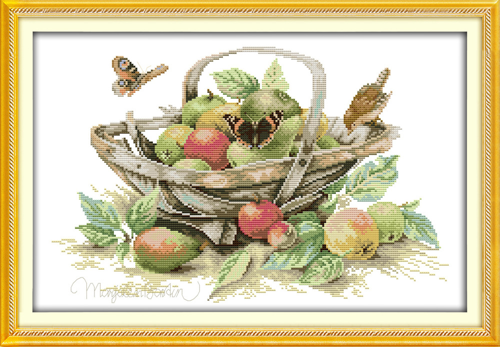 Fruktkurv og tutterfly Printed Canvas DMC Counted Kinesisk Cross Stitch Kit trykt Strikkesett Broderi Needlework