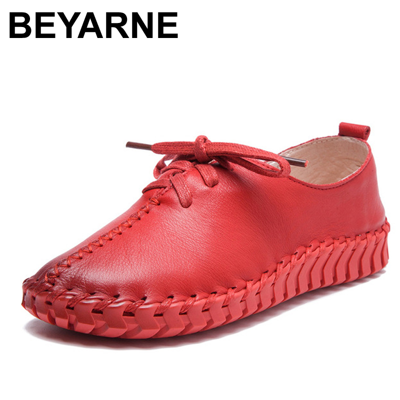 BEYARNE Spring and autumn new fashion hand-sewn genuine leather Lace shoes women genuine leather flats womens shoes flats women 2016 spring and summer free shipping red new fashion design shoes african women print rt 3