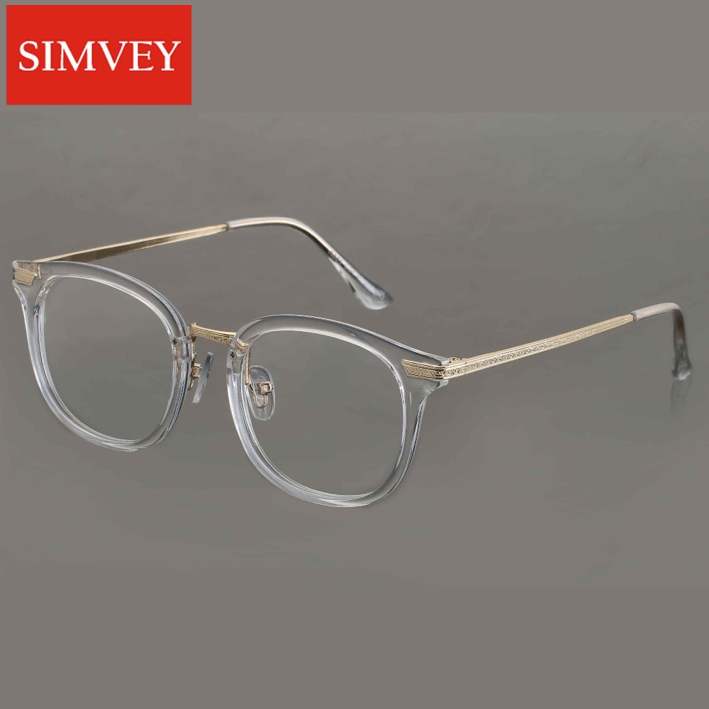 simvey retro transparent glasses gold frame brand designer vintage optical frames eyeglasses for women men clear