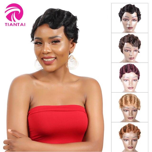 Korte Vinger Wave Pruiken Korte Bob Pruiken Voor Vrouw Korte Pixie Cut Pruik Braziliaanse Remy Human Hair Korte Pruiken Mix kleur 1B 2 # TIANTAI