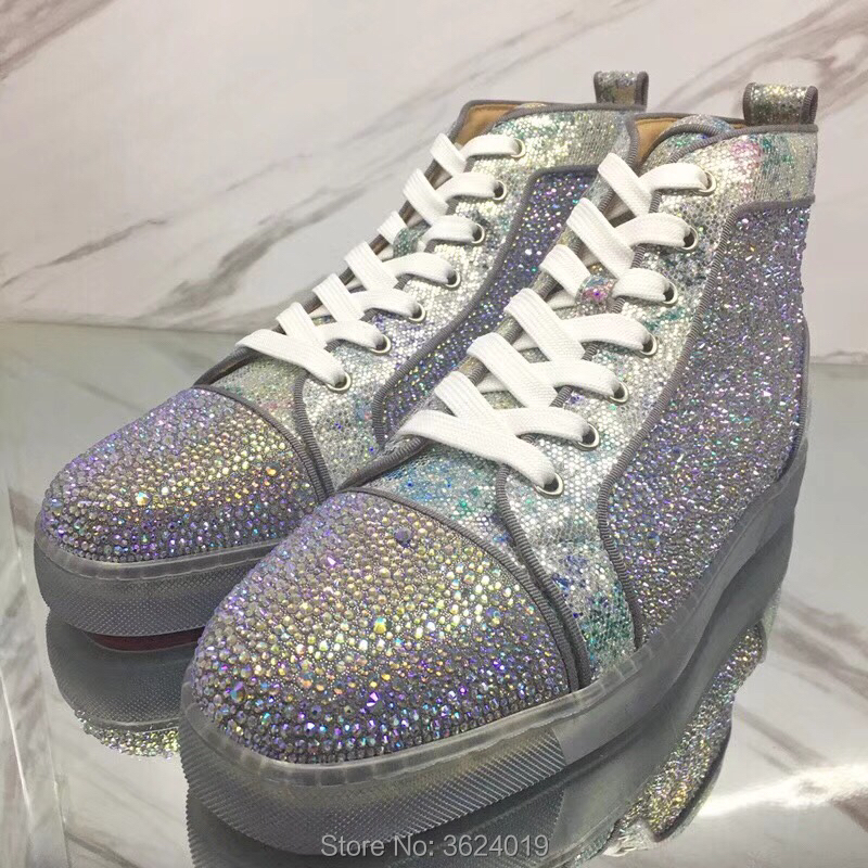 234dd46ec61 High Cut cl andgz Glitter leather crystals Rhinestone diamond Lace up Transparent  Red bottom Shoes Sneakers