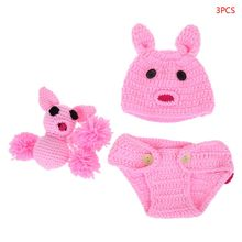 лучшая цена Baby Photography Costume Hat+Pant+Toy Knitted Crochet Pig Toy Cap Rabbit Ears  Pink Props Photo Studio Shooting Newborn Clothes
