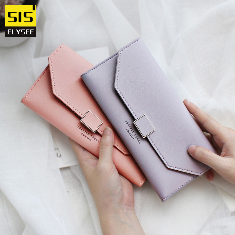 Korean Fashion Trifold Women Wallet Long PU Leather Girl Coin Purse With Square Hasp Money Clips Card Photo Case Holder Clutches кроссовер body solid gcco150s gcco150