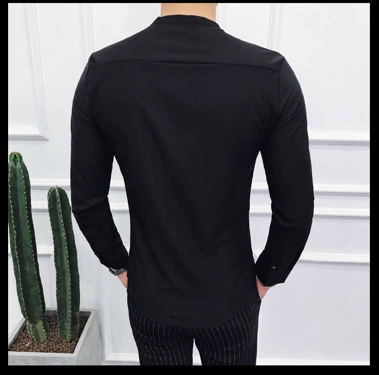 рубашка мужская осень новый платье рубашка V-образный вырез Slim Fit рубашка мужская с длинным рукавом
