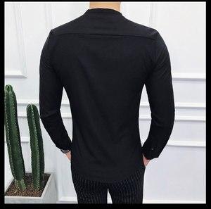 Image 3 - camisas hombre 2019 otoño nuevo camisas hombre manga larga cuello en V slim fit streetwear camisa hombre vestir