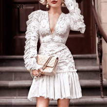 SONDR Patchwork Ruffle Dress Female V Neck High Waist Long Sleeve Pleated Hem Embroidery Dresses Women 2019 Spring New недорого