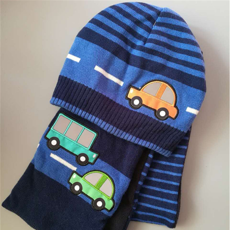 Children Kids Boys baby hats Lovely car printed striped blue hats Scarf suit set Christmas New Year Winter Gift