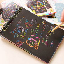 1 Book Colorful Dazzle Scratch Note Sketchbook Paper Graffiti DIY Coils Drawing Children drawing book Color Random
