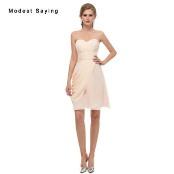 Wholesale Elegant Champagne Sweetheart Chiffon Bridesmaid Dresses 2019 Formal Girls Short Ruched Maid of Honor Party Prom Gowns