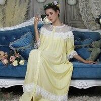 Woman Robe Nightgown Long Sleepwear Vintage Elegant Homewear Ladies Long Dress Full Length Nighties