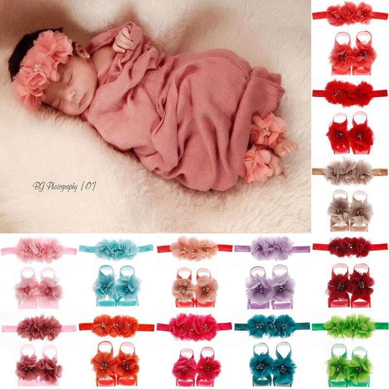Yundfly Newborn Baby Flower Headband With Barefoot Sandal Sets Chiffon Flower Headwear Cute Photography Props Set 3pcs/set