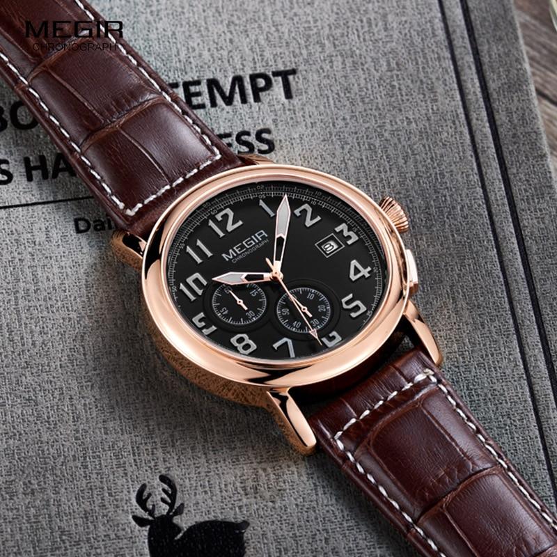 Megir Mens Chronograph Luminous Quartz Armbandsur Fashion Vattentät - Herrklockor - Foto 3