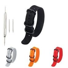 1pc Top Quality 20mm 22mm 24mm Nylon Strap Wristband 5 Ring Black Silver Button Watch Accessories KZfashion