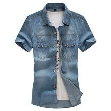 Neuen männer denim shirts marke freizeit cowboy stil Sommer baumwolle kurzarm jeanshemd camisa jeans masculina slim fit 8XL
