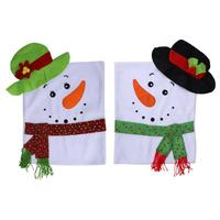 1pcs Christmas Snowman Chair Covers Home Seat Cover Decoration Party New Year Xmas Dinner Tableware Supplies