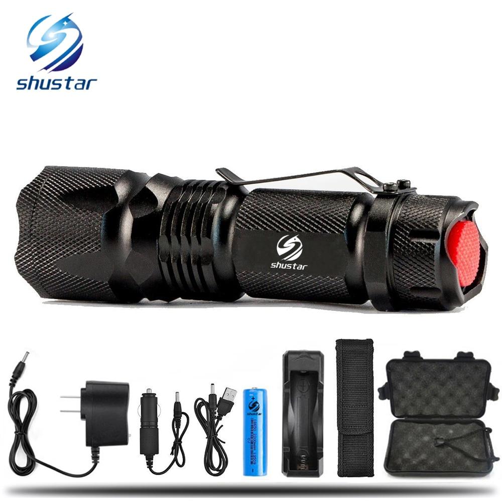 Tactique Led lampe de poche Ultra Lumineux 4000 Lumens CREE XML-T6 L2 Zoomable led lampe torche utiliser Rechargeable 18650 batterie + chargeur