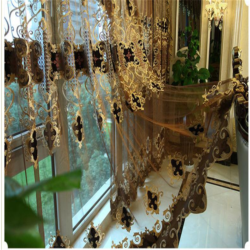 European Luxury King Queen Brown Embroidered Gold Curtains