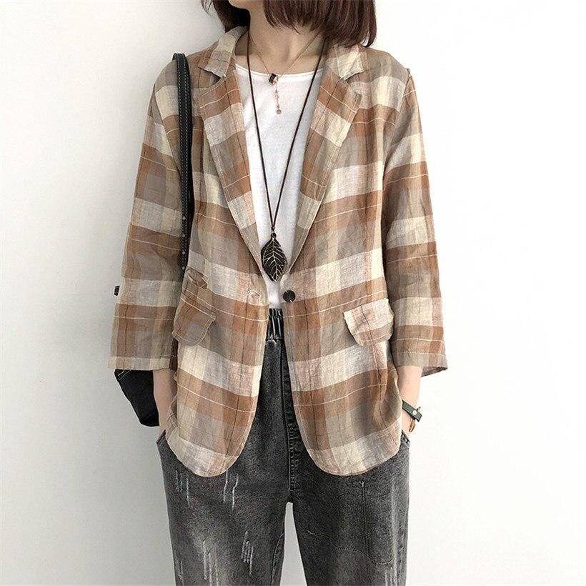 Printemps classique costume à carreaux Blazer femmes 2019 vintage nouveau bouton singel femme vestes lâche lin OL Blazer veste d'extérieur