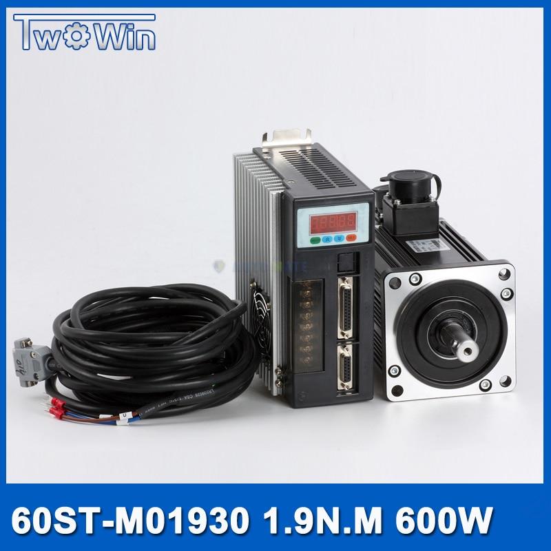 Conjuntos AOS 60-M01930 Servo motor 600 W AC SERVO MOTOR 0.6KW 3.5A 1.91NM 3000 RPM & Combinado SERVO DRIVE