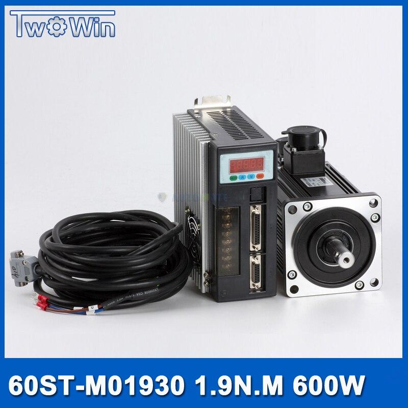 Servomoteur ensembles 60ST-M01930 600 w AC Servo MOTEUR 0.6KW 3.5A 1.91N.M 3000 rpm et Assorti SERVOMOTEUR