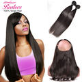 7A Grade Brazilian Virgin Hair Straight 2 Bundles With Frontal Closure Bundle 360 Pre Plucked Lace Frontal Closure With Bundles