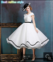 Real picture white ruffled a line lace cap sleeve wedding dresses v neckline vintage bridal gowns open back wedding gown