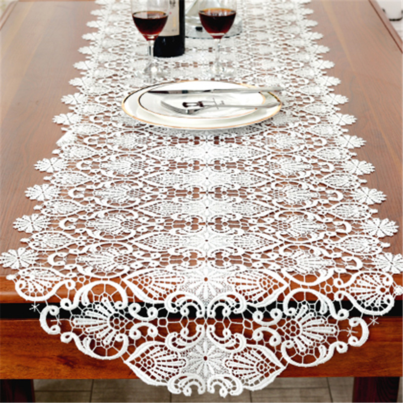 2018 New Cotton Table Runner White Embroidered Tea Lace Table Cloth Cover Towel Home Christmas Tablecloth Placemat Wedding Decor