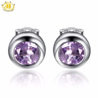 Hutang Round 6 0mm Natural Amethyst Solid 925 Sterling Silver Stud Earrings For Women Purple Gemstone