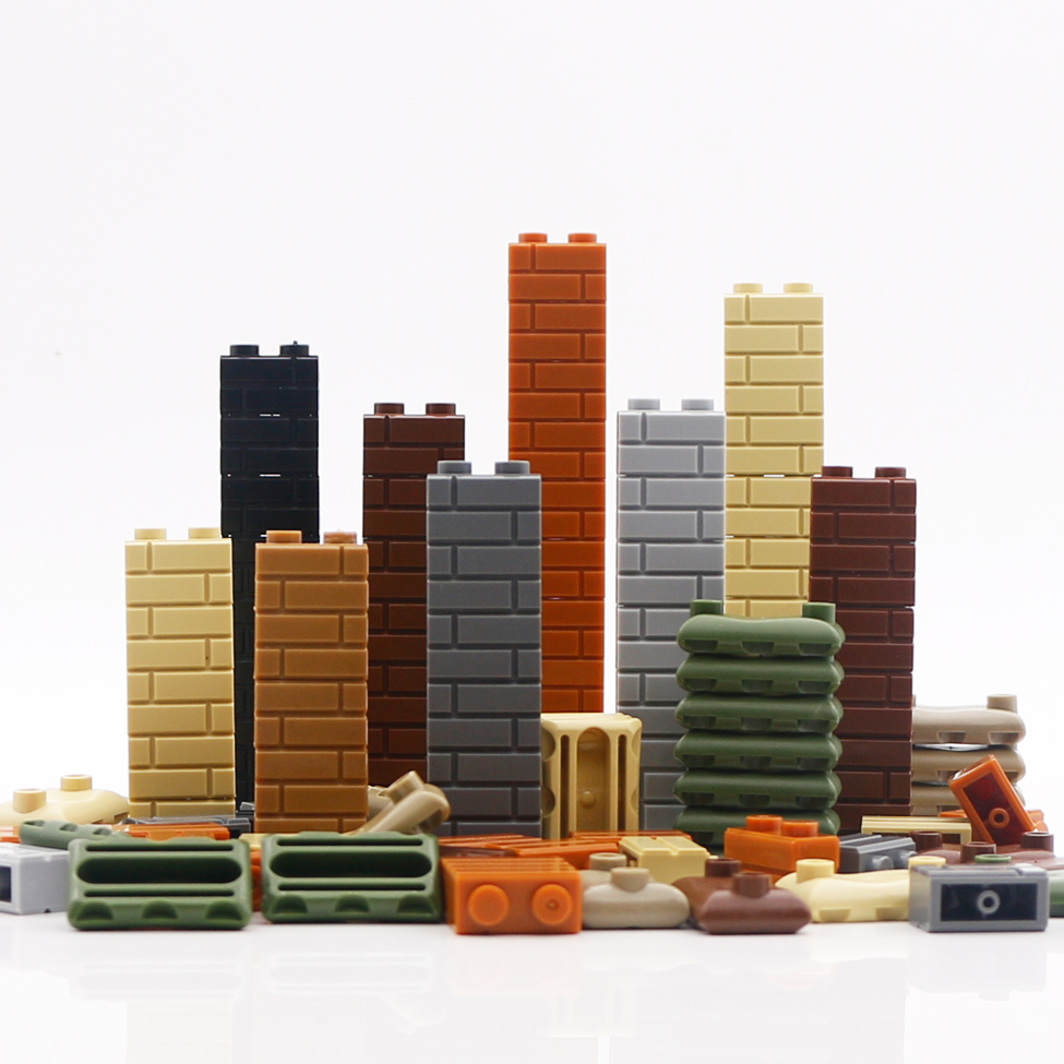 Bricks City Military Accessories Sandbag 1X2 Wall Army Weapons Figures Building House LegoINGlys City Parts Building Blocks Toys