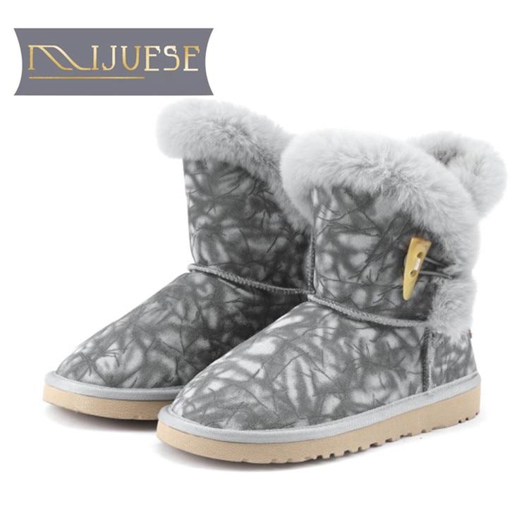 MLJUESE 2019 women ankle boots Cow Suede Fur gray color winter warm wool blend women snow boots women flat boots lapel flap pocket color block wool blend blazer