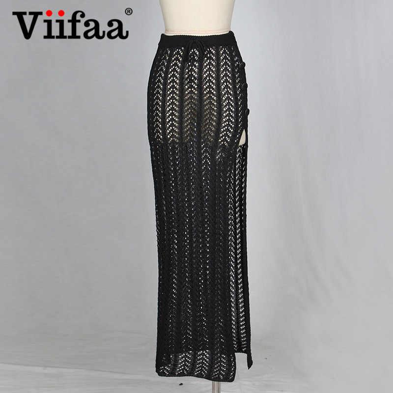 6177d33dc Viifaa Crochet Falda larga tejida Bodycon Hollow Sexy Maxi faldas ...